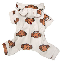 Silly Monkey Fleece Pajamas White