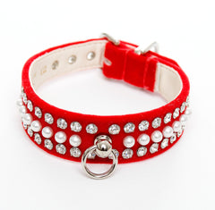 Pearl & Crystal Velvet Collar Red