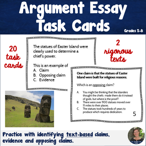 Argumentative Essay Writing Task Cards - Text-based!