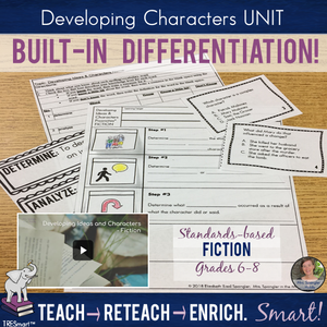 Developing Characters (FICTION) TRESmart™ UNIT - Pixanotes®, Quiz, Activities