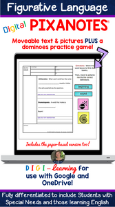 Figurative Language DIGITAL Pixanotes® (Picture Notes) + Dominoes Game!