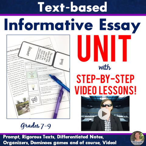 Text-Based Informative Essay VIDEO Unit with Pixanotes®, Prompt, Texts, Games & More! Grades 7-9