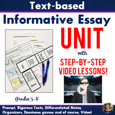 Text-Based Informative Essay VIDEO UNIT - Grades 4-6 - VIDEO Lessons, Visual Notes, & More!