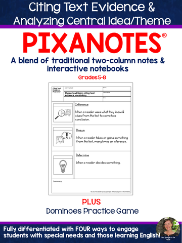 Citing Text Evidence & Analyzing Central Idea/Theme Pixanotes® + Dominoes Game!