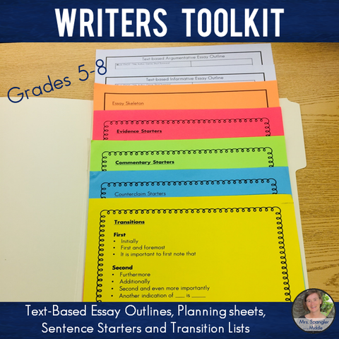 Writers' Toolkit: Text-Based Essay Outlines, Planning sheets, Sentence Starters