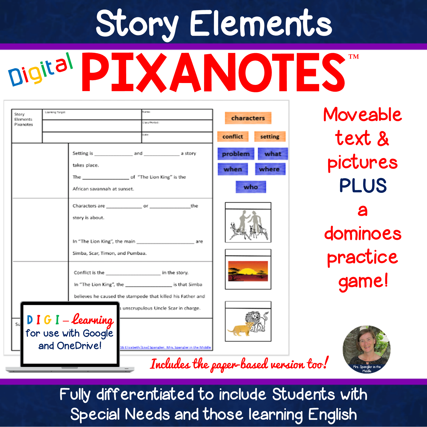 Plot /Story Elements DIGITAL Pixanotes® + Dominoes Practice Game!