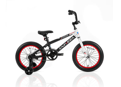 16 inch arrow dart red and black boy's bike - with training wheels