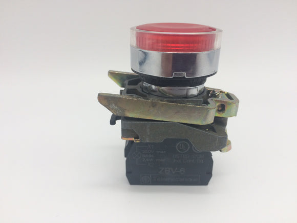 TELEMECANIQUE RED PUSHBUTTON ZB4BW34, LIGHT MODULE ZBV-6, MOUNT BASE ZB4BZ009