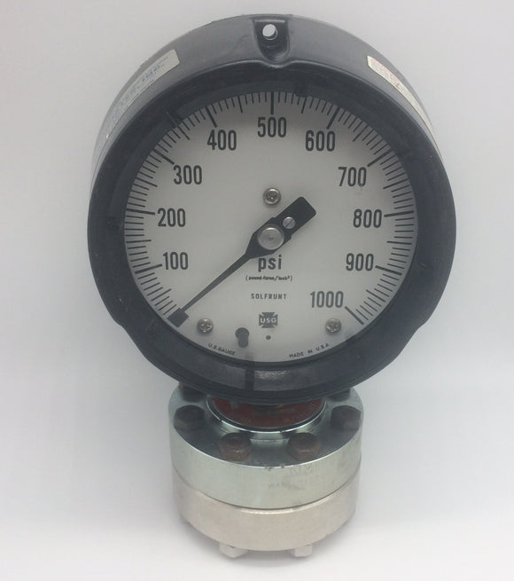 AMETEK 1980 SOLFRUNT 4.5 IN PRESSURE GAUGE 0-1000PSI PN 150015 W/DIAPHRAGM SEALS