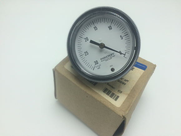 NEW ASHCROFT LOW PRESSURE GAUGE P/N 251490A02B30IW, SIZE 2 1/2, TYPE 1490