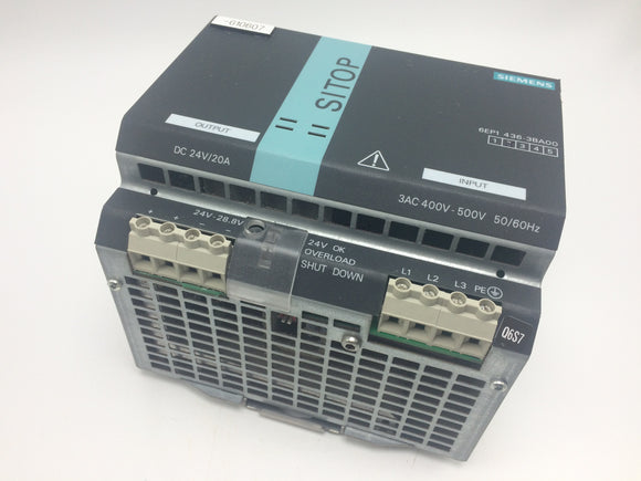 SIEMENS SITOP POWER 20 POWER SUPPLY 24VDC PN# 6EP1436-3BA00