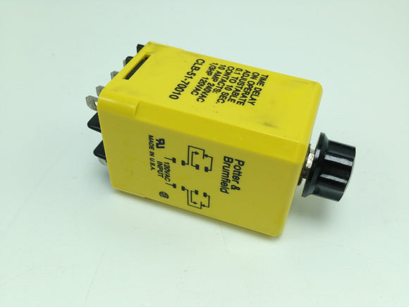POTTER & BRUMFIELD TIME DELAY RELAY, .1 TO 10 SEC, 10 AMP, P/N CLB-51-70010