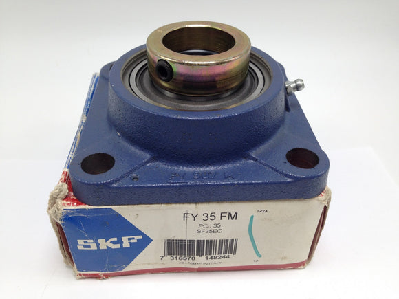 NEW SKF Y BEARING SQUARE 4-BOLT FLANGED UNIT 35MM BORE PN# FY-35-FM