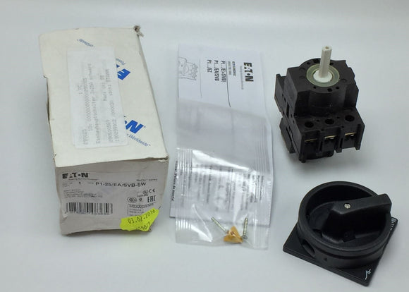 NEW EATON P1-25/EA/SVB-SW MAIN SWITCH 25A 3POLE W/BLACK ROTARY HANDLE PN# 048365