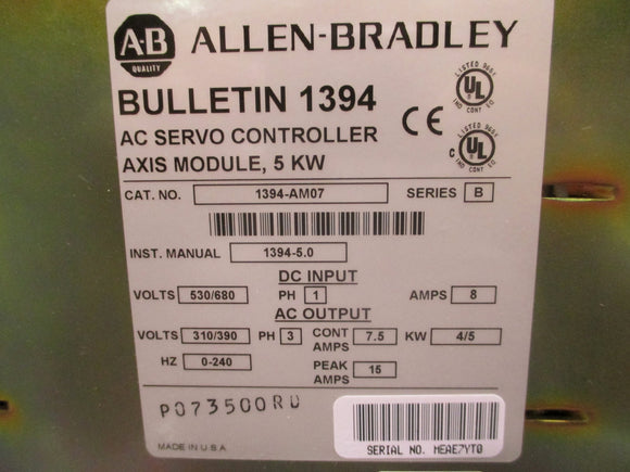 Allen Bradley 5KW Axis Module Refurbished with 1 Year Warranty - 1394-AM07