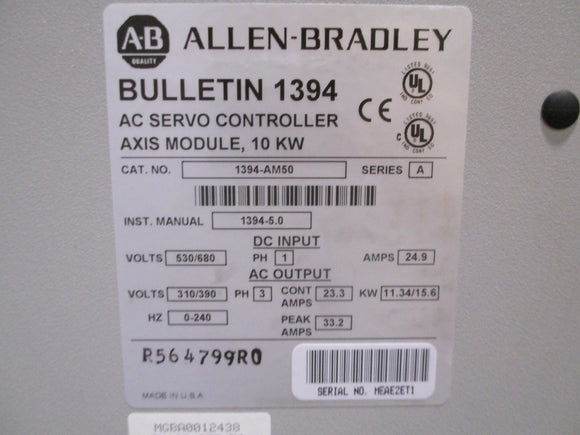Allen Bradley 10KW Axis Module Refurbushed with 1 Year Warranty - 1394-AM50 Series A