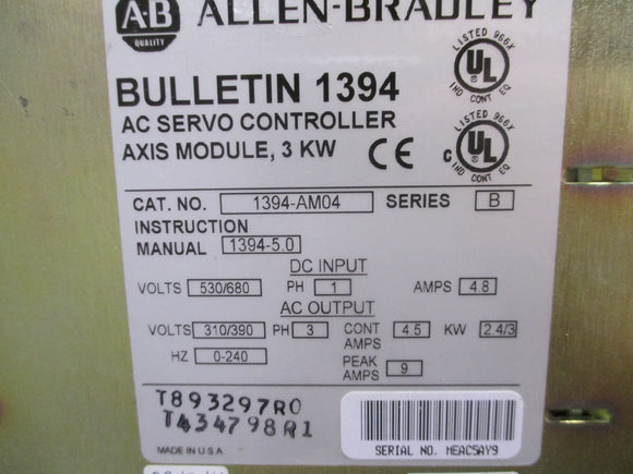 Allen Bradley 3KW Axis Module Refurbished with 1 Year Warranty - 1394-AM04