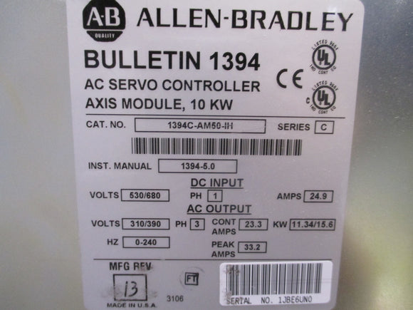 Allen Bradley 10KW Axis Module Refurbished with 1 Year Warranty - 1394C-AM50-IH