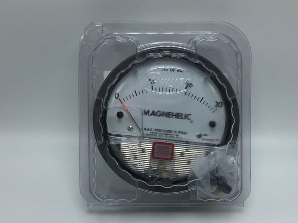 NEW DWYER 4.5IN MAGNEHELIC PRESSURE GAUGE 0 TO 30IN OF WATER 1/8IN FNPT PN# 2030