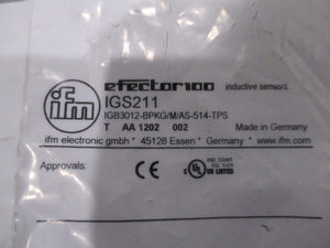 New IFM IGS211 Inductive Proximity Sensor - IGB3012-BPKG/M/AS-514-TPS