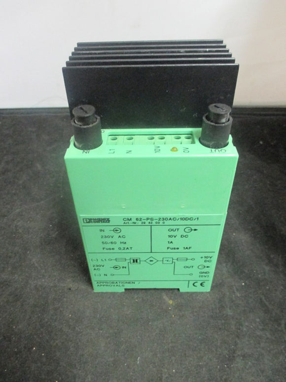 PHOENIX CONTACT CM 62-PS-230AC/10DC/1 POWER SUPPLY 230VAC PN# 2942030