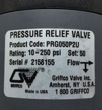 NEW GRIFFCO PRESSURE RELIEF VALVE G SERIES SIZE 1/2IN 10-250PSI PN# PRG050P2U