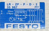 FESTO LR-ZP-P-D-2 INTERMEDIATE PRESSURE REGULATOR PLATE 0-174PSI PN# 35967