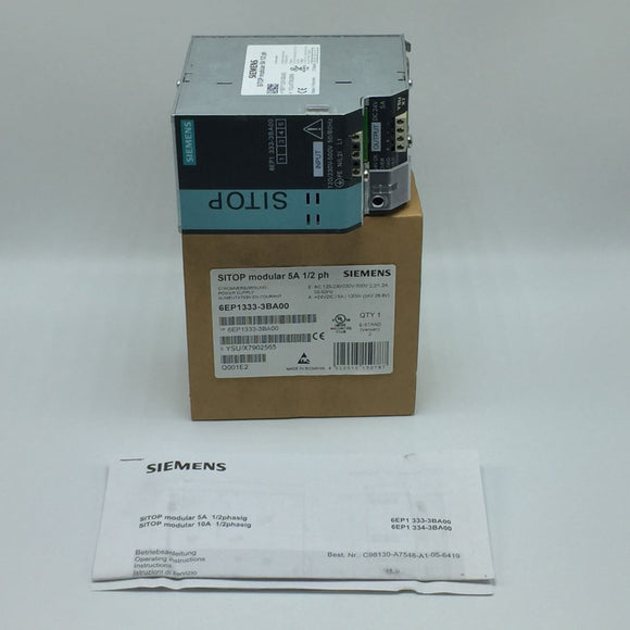 NEW SIEMENS SITOP MODULAR POWER SUPPLY 5A 24VDC 120W PN# 6EP1333-3BA00