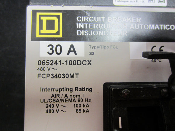 Square D 30A Circuit Breaker, 3 Pole- FCP34030MT