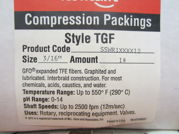 New Flowserve 3/16 in. Compression Packing - 1 roll - SSWR1XXXX12