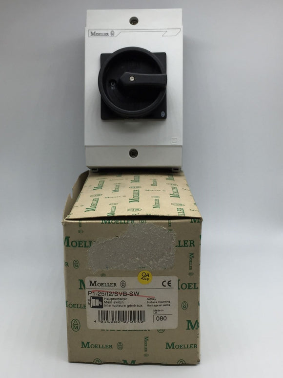 NEW MOELLER MAIN SWITCH 25A, 3 POLE, 2 POSITION PN# P1-25/I2/SVB-SW