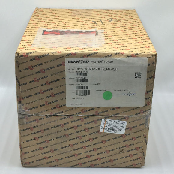 NEW REXNORD HP7956TAB-12.00IN_MTW_S MATTOP CHAIN LENGTH 5 FT PN# 10146269