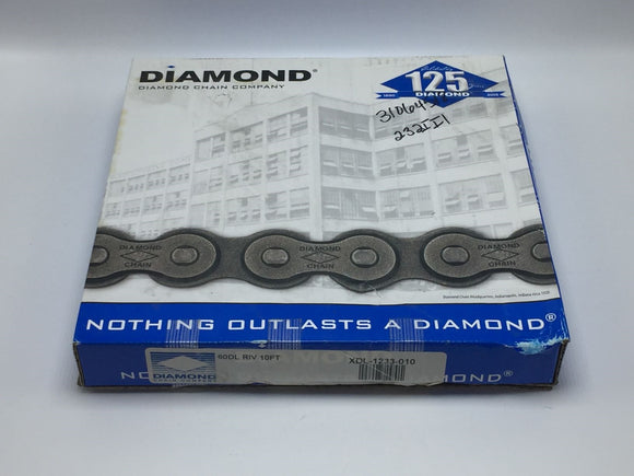 NEW DIAMOND DURALUBE ANSI 60 RIVETED ROLLER CHAIN 10 FEET PN# XDL-1233-010