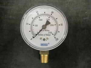 "New Wika Instrument 100""/mm H2O Guage - 611.10 - 9851810"
