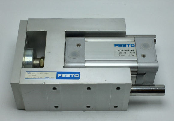 NEW FESTO FENG-63-0040 GUIDE UNIT 34484 W/FESTO DNC-63-40-PPV-A CYLINDER 163402