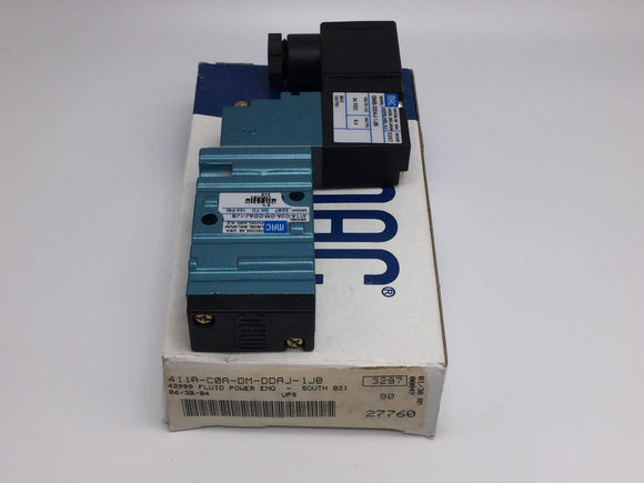 NEW MAC SERIES 400 SOLENOID VALVE 4-WAY, 24VDC PN# 411A-C0A-DM-DDAJ-1JB
