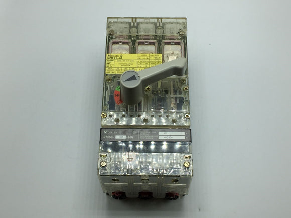MOLLER CIRCUIT BREAKER 63A WITH THERMAL MAGNETIC TRIP PN# NZM6B-63/ZM6A-40-NA