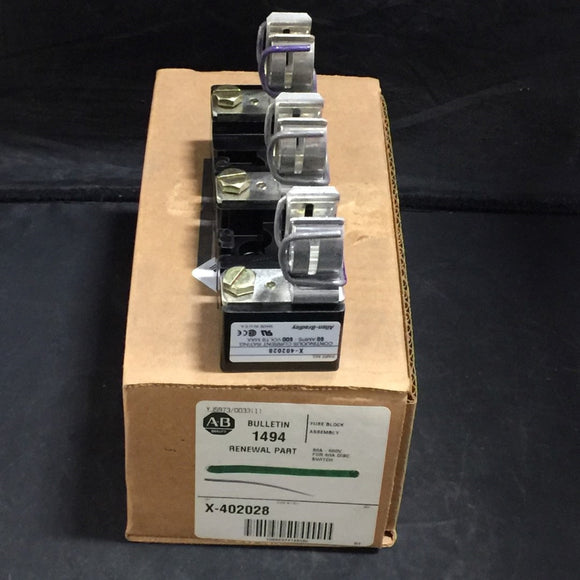 NEW ALLEN BRADLEY FUSE BLOCK ASSEMBLY FOR DISCONNECT SWITCH PN# X-402028