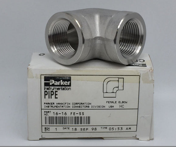 NEW PARKER PIPE FITTING FE FEMALE ELBOW 1IN FNPT X 1IN FNPT PN# 16-16 FE-SS