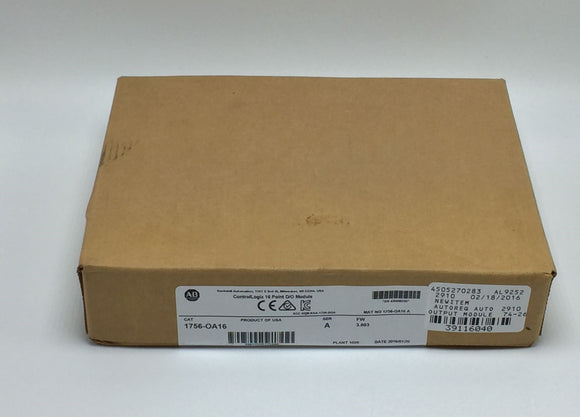 NEW FACTORY SEALED ALLEN BRADLEY CONTROLLOGIX 16PT DO MODULE SER A PN# 1756-OA16