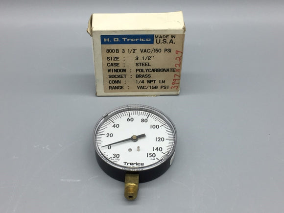 NEW TRERICE 800B 30 IN HG VAC PRESSURE GAUGE 150PSI , 9108-15 PN# 6635481