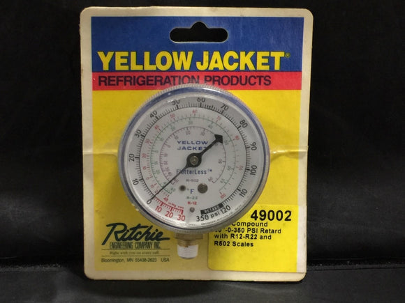NEW RITCHIE YELLOW JACKET 2-1/2� BLUE COMPOUND GAUGE 120 PSI PN# 49002