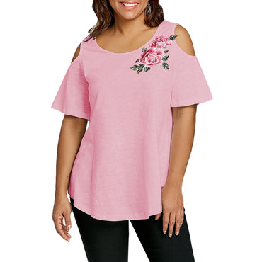 Plus Size Embroidery Appliqued Cold Shoulder T-shirt