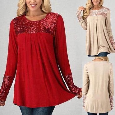 Sequins Shirt Blouse - Jarblue