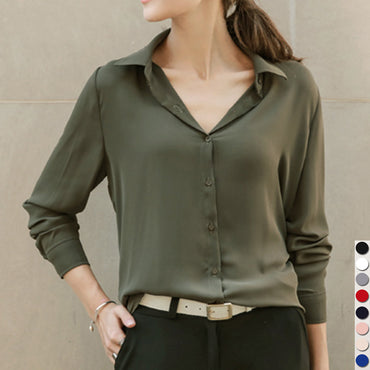 Womens Long Sleeve Turn-Down Chiffon Blouse