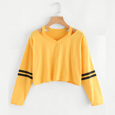 Fashion Womens Long Sleeve Sweatshirt V Neck Causal Tops Blouse - Jarblue