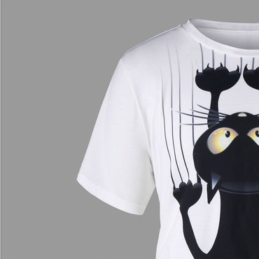 Cat Pattern T-Shirt - Jarblue