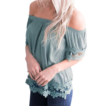 Short Sleeve Lace Blouse - Jarblue