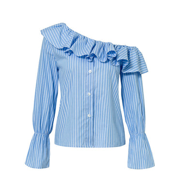 Blue and white Striped Ruffles One Shoulder Blouse - Jarblue