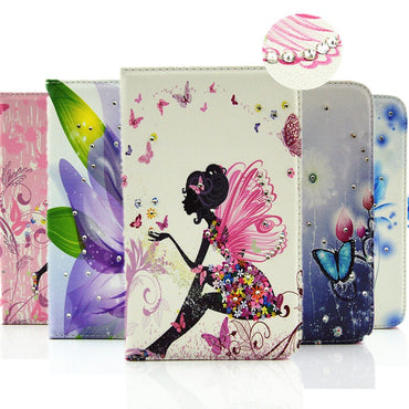 Magnetic Stand PU Leather Flip Diamond Girl Tablets Cover - Jarblue